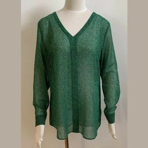 cabi bountiful blouse green women's size M EUC